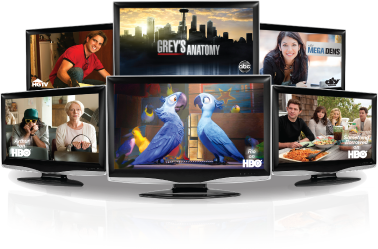Picture of 5 TVs displaying DISH content including Rio, Grey's Anatomy, Mega Dens, HGTV, and other HBO content