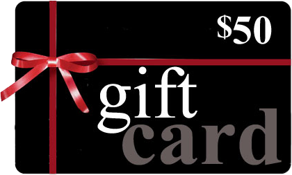 Fifty dollar gift card with ribbon and bow.